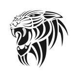 Silhouette noire de tigre sur un fond blanc Photos libres de droits