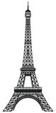 Silhouette noire de Tour Eiffel Photos stock