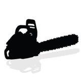 Silhouette noire de vecteur de tronçonneuse Images libres de droits