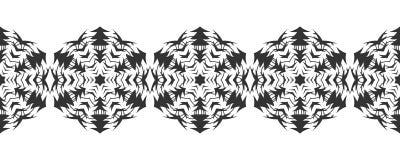 Silhouette noire des flocons de neige Dentelle, ornement rond et frontière décorative Illustration Photographie stock libre de droits