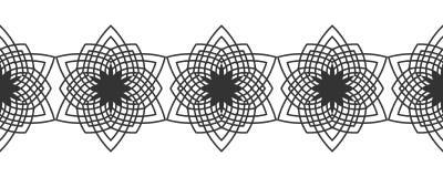 Silhouette noire des flocons de neige Dentelle, ornement rond et frontière décorative Illustration Image libre de droits