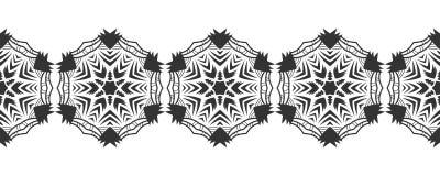 Silhouette noire des flocons de neige Dentelle, ornement rond et frontière décorative Illustration Image stock