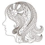 Silhouette noire et blanche décorative d'une fille dans le style de Image stock