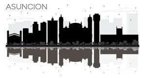 Silhouette noire et blanche d'horizon d'Asuncion Paraguay City avec R illustration libre de droits