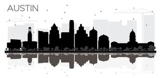 Silhouette noire et blanche d'horizon d'Austin Texas City avec Reflec illustration de vecteur