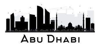Silhouette noire et blanche d'horizon d'Abu Dhabi City Photo libre de droits