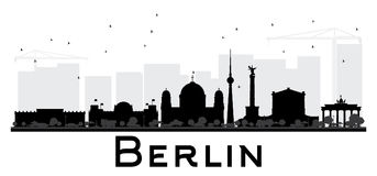 Silhouette noire et blanche d'horizon de Berlin City illustration de vecteur