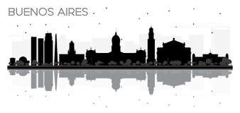 Silhouette noire et blanche d'horizon de Buenos Aires avec des réflexions illustration libre de droits