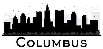 Silhouette noire et blanche d'horizon de Columbus City illustration de vecteur