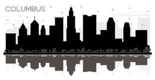 Silhouette noire et blanche d'horizon de Columbus Ohio City avec Refle illustration libre de droits