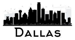 Silhouette noire et blanche d'horizon de Dallas City illustration stock