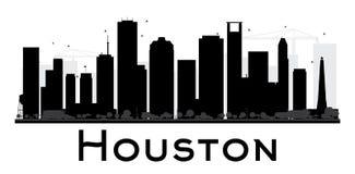 Silhouette noire et blanche d'horizon de Houston City Photos stock