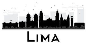 Silhouette noire et blanche d'horizon de Lima City Photo libre de droits