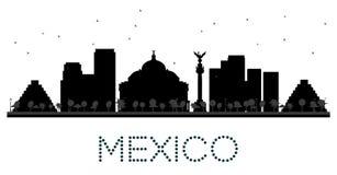 Silhouette noire et blanche d'horizon de Mexico Photographie stock libre de droits