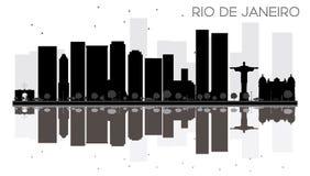 Silhouette noire et blanche d'horizon de Rio de Janeiro City avec le refl illustration stock