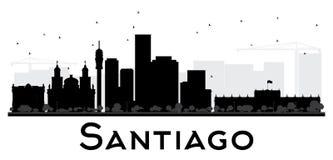 Silhouette noire et blanche d'horizon de Santiago City Images libres de droits