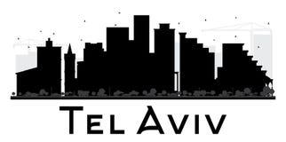 Silhouette noire et blanche d'horizon de téléphone Aviv City illustration de vecteur