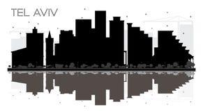 Silhouette noire et blanche d'horizon de téléphone Aviv Israel City avec la référence illustration stock