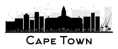 Silhouette noire et blanche d'horizon de ville de Cape Town Photos stock