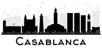 Silhouette noire et blanche d'horizon de ville de Casablanca illustration libre de droits