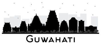 Silhouette noire et blanche d'horizon de ville d'Inde de Guwahati Photos libres de droits