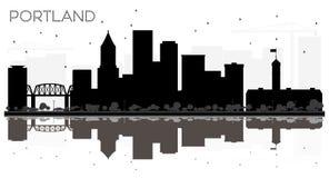 Silhouette noire et blanche d'horizon de ville de Portland avec la réflexion illustration stock