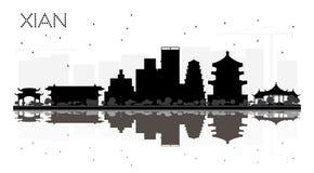 Silhouette noire et blanche d'horizon de Xian China City avec Reflecti illustration libre de droits