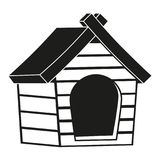 Silhouette noire et blanche d'icône de maison d'animal familier Photographie stock libre de droits