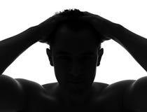 Silhouette noire et blanche d'un homme Photographie stock