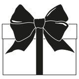 Silhouette noire et blanche de boîte-cadeau Image stock