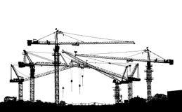 Silhouette noire et blanche de grue de construction Image stock