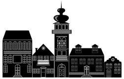 Silhouette noire et blanche de la ville historique Photo stock