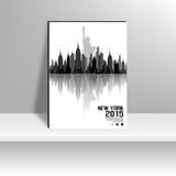 Silhouette noire et blanche de New York Photos stock