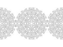 Silhouette noire et blanche des flocons de neige Dentelle, ornement rond et frontière décorative Illustration Photos stock