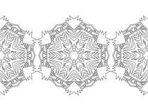 Silhouette noire et blanche des flocons de neige Dentelle, ornement rond et frontière décorative Illustration Photographie stock