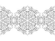 Silhouette noire et blanche des flocons de neige Dentelle, ornement rond et frontière décorative Illustration Photo libre de droits