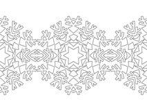 Silhouette noire et blanche des flocons de neige Dentelle, ornement rond et frontière décorative Illustration Photos libres de droits