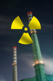 Silhouette of Nuclear Power Plan Stock Photos