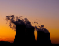 Silhouette of the nuclear power plant Royalty Free Stock Photos