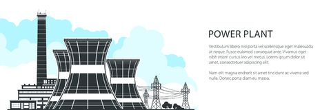 Silhouette Nuclear Power Plant Banner. Silhouette Nuclear Plant Banner , Thermal Power Station, Nuclear Reactors and High Voltage Power Lines, Vector Royalty Free Illustration