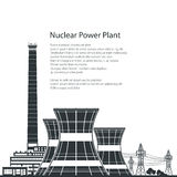 Silhouette Nuclear Power Plant and Text. Silhouette Nuclear Power Plant , Thermal Power Station and Text, Nuclear Reactor and Power Lines,Black and White Vector vector illustration