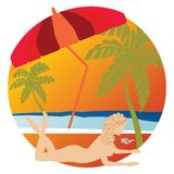 Silhouette of nude  woman on tropical beach Stock Images