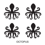 Silhouette of an octopus on  light background Stock Image