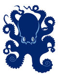 Silhouette of octopus stock illustration