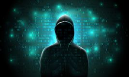 Free Silhouette Of A Hacker On A Background With Binary Code And Lights, Hacking Of A Computer System Stock Photo - 110287160