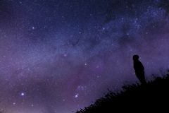 Free Silhouette Of A Man Against The Night Sky. Stock Image - 139321621