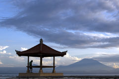 Free Silhouette Of A Man And A Gazebo Royalty Free Stock Photography - 25159347