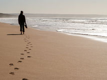Free Silhouette Of A Woman Walking Alone At The Beach Royalty Free Stock Image - 82814386