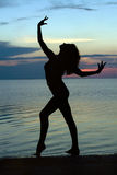 Silhouette Of A Young Woman Royalty Free Stock Photo