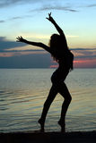 Silhouette Of A Young Woman Royalty Free Stock Image